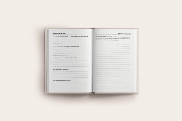 book spread monthly reflection goals planner