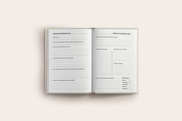book spread yearly goals planner